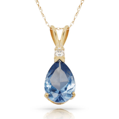 3.05 CT AIGUE-MARINE POIRE 2 Pierre Gemme Pendentif /& Collier 14K Or Jaune