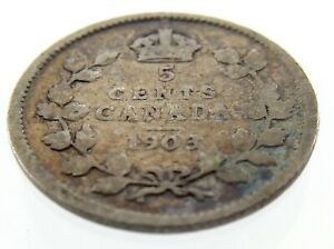 1903-Canada-Five-Cents-Small-Silver-Canadian-Circulated-Edward-Coin-M853