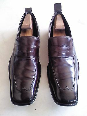 DSQUARED2 Men's 12 M Solid Dark Brown Leather Penny Loafers Italy