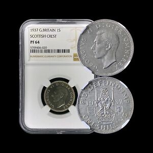 1937-Great-Britain-Shilling-Silver-NGC-PF64-Scottish-Crest-Scarce-Proof
