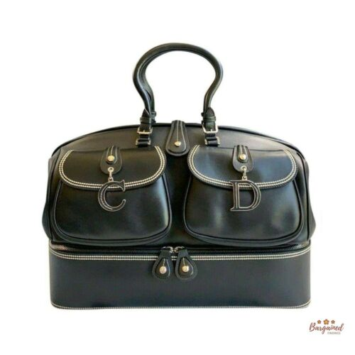 Authentic CHRISTIAN DIOR Black Leather Large Detec