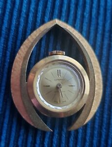 VINTAGE LUCERNO PENDANT WATCH GOLD TONE SWISS MADE ANTI MAGNETIC WIND UP WORKS!