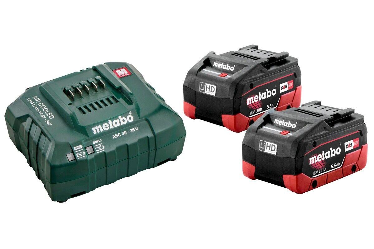 Metabo Basisset 2 x LiHD 5,5 Ah Akkus + Ladegerät 685122000