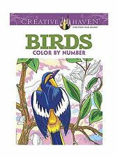 creative haven birds color by number coloring book adult color free shipping - Color By Number Coloring Books