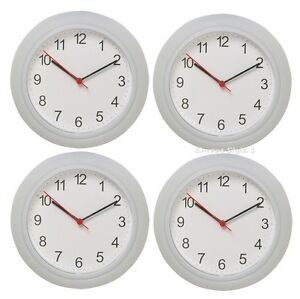 New 4 Pack Ikea Rusch Battery Operated White Wall Clock Ebay