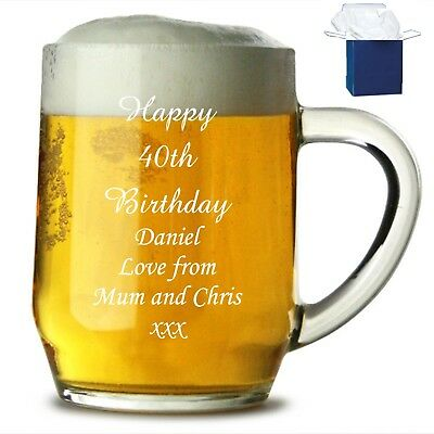 Personalised 1 Pint Handmade Glass Tankard Happy 18th Birthday Free Gift Box