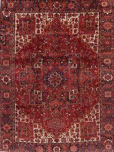Vintage-Geometric-Long-Wearing-Heriz-Serapi-Area-Rug-10-039-x13-039-Hand-Knotted-Wool