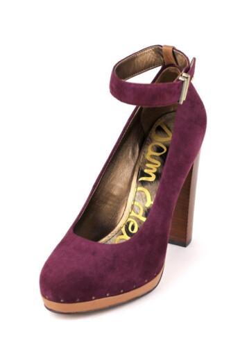 Women/'s Sam Edelman Lyla Pump Pinot Noir Suede ankle strap platform heels maroon