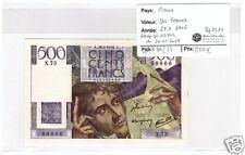 FRANCE 500 FRANCS CHATEAUBRIAND 28.3.1946 ALPHABET X.73 NEUF !!!!!