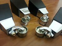 4x Wooden Furniture Legs/feet With Chrome Castors, Settee Chairs, Sofas, M8(8mm)