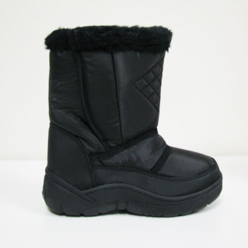 New Girl/'s Winter Boots Snow Ski Nylon Warm Fur Lined Black Childrens Size:11-4