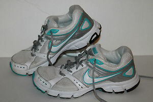 Nike Air Downshifter 4 Running Shoes #472680-100 Wht/Turq/Slvr Womens US 6.5