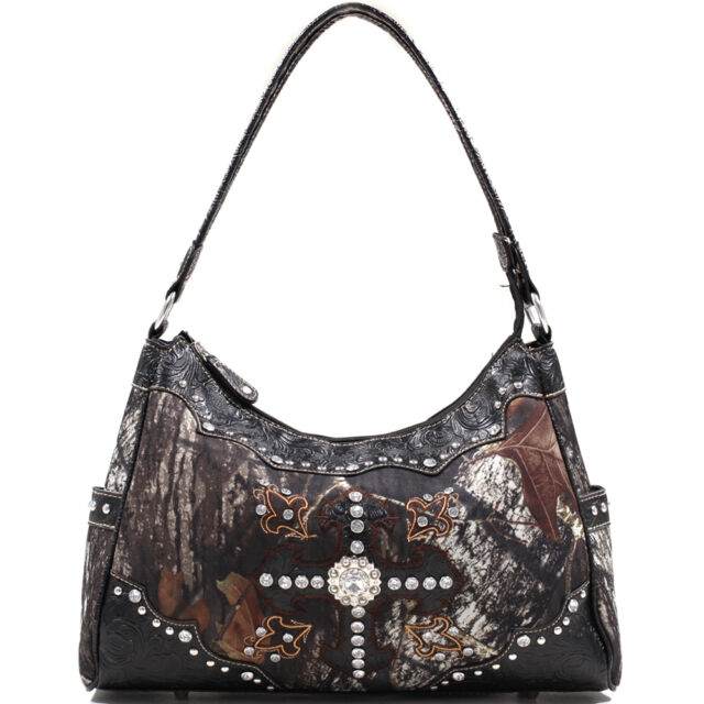 Mossy Oak Studded Camouflage Shoulder Bag with Cross and Floral Trim - Black