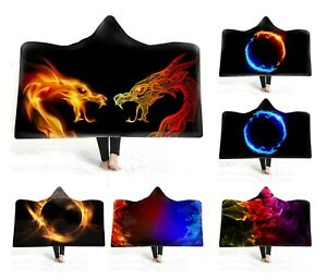 Novelty-Gift-Cool-Dragon-Fire-Flame-Warm-Fleece-Hooded-Blanket-Cloak-Sofa-Throw