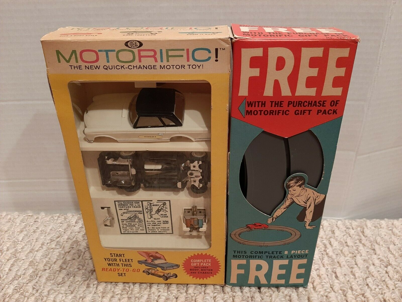 Vintage 1964 Ideal Motorific Mercedes Gift Pack MIB New Old Stock Untested