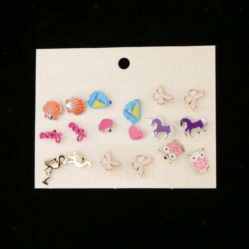 9 Pairs Summer Vacation Animal Flamingo Owl Butterfly Earrings Studs Lot