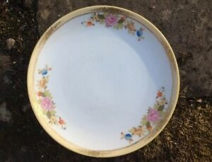 Charming-Nippon-6-1-4-034-Plate-Pink-Peonies-Raised-Gold-Highlights-Green-M-Mark
