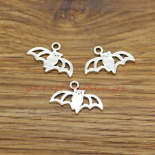2 Bird on branch connector charms antique silver tone B178