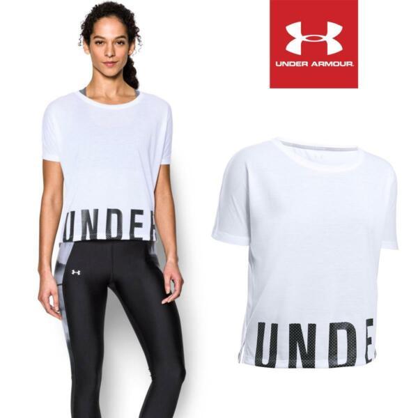 Under Armour Damen T-shirt Sport Shirt Fitness Frauen Weiß Gym Training Oversize