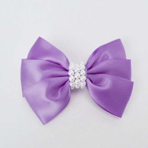 "Purple Girls Set of 2 Satin Hair Bow Clips 3"" Long"