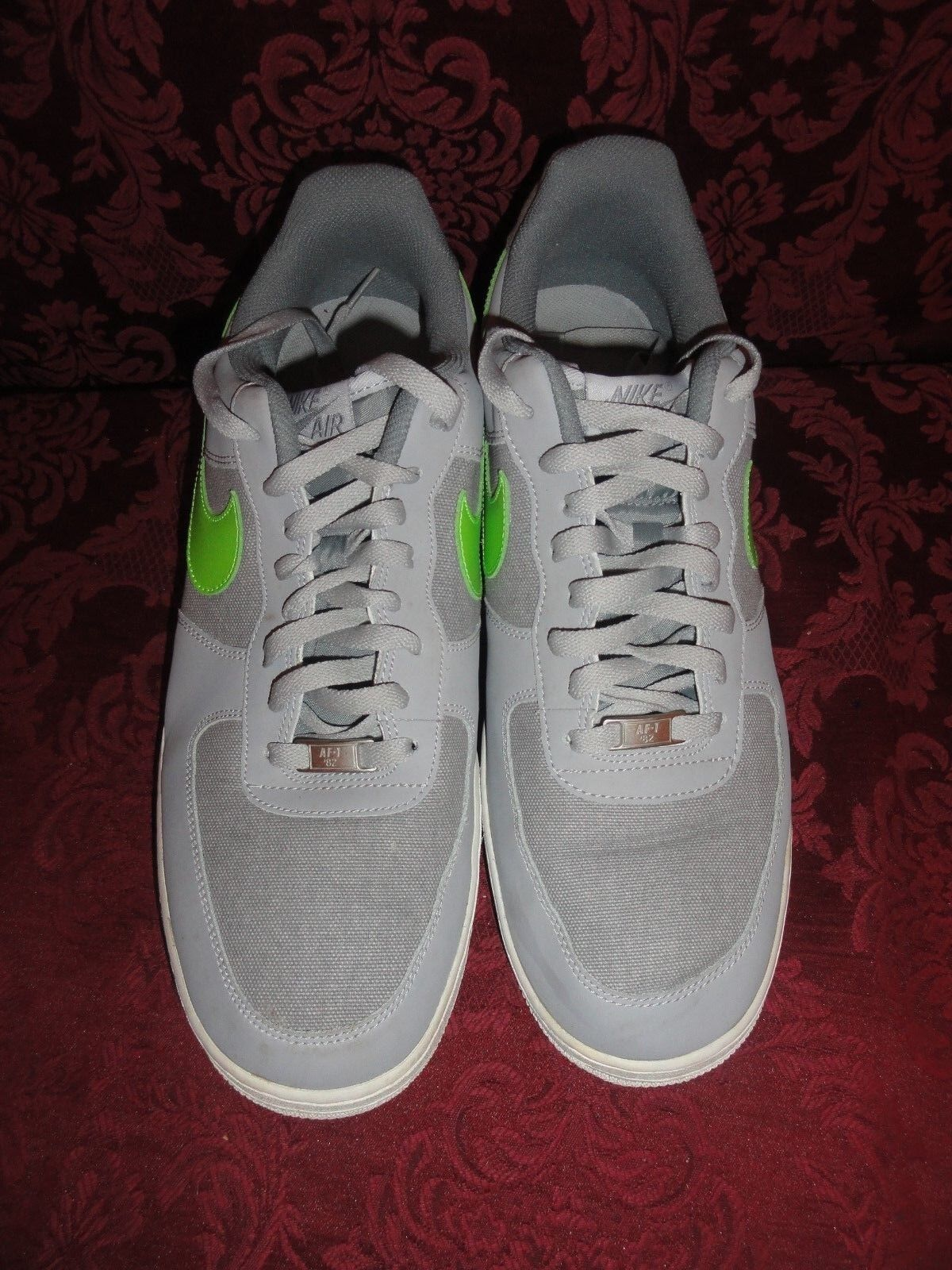 Nike Air Force s 1 AF1 82 'low Top Men' s Force ~ 488298 009 Wolf Gris / Verde sz 14 barato y hermoso moda 3ff6ca