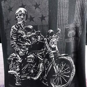 T SHIRT HOMME MOTO BIKER SKULL TETE  MORT ROUTE 66 USA HARLEY DAVIDSON VINTAGE