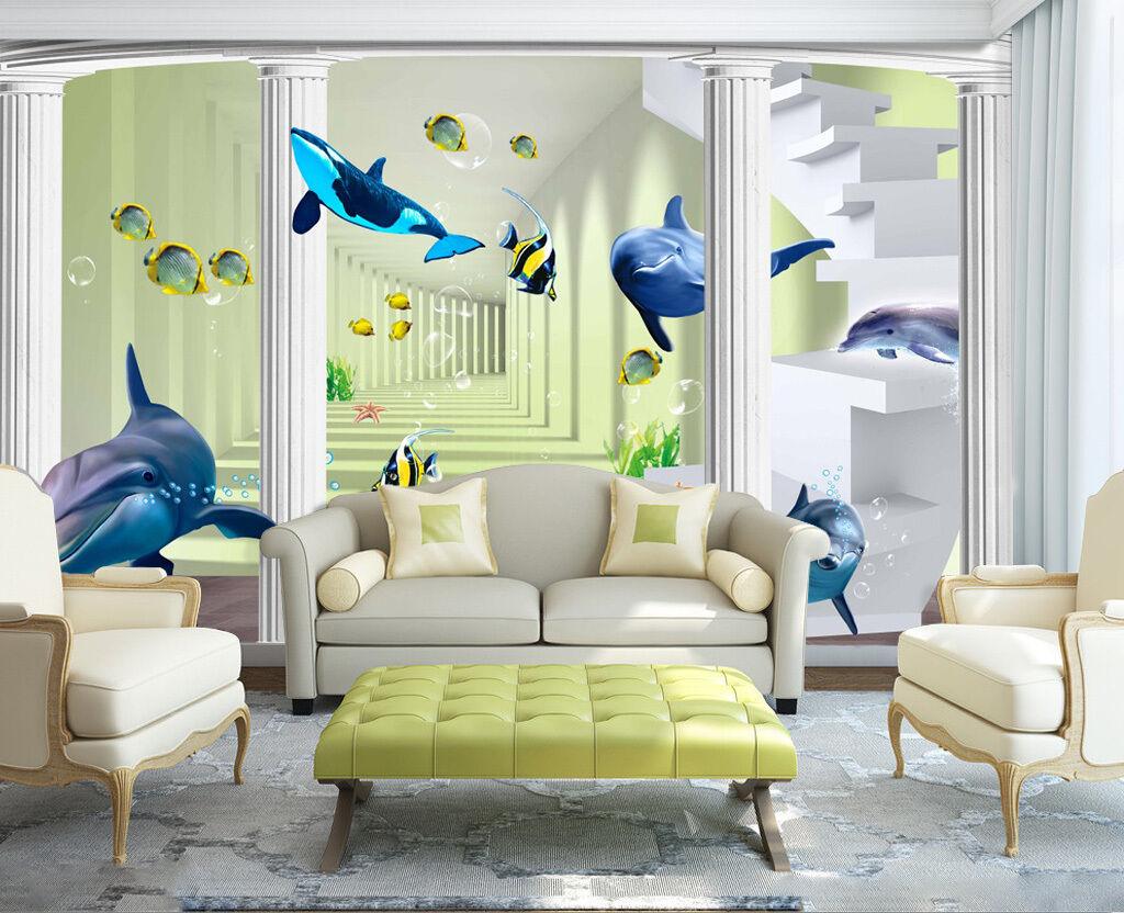 3D Dauphin Mignon 8 Photo Papier Peint en Autocollant Murale Plafond Chambre Art