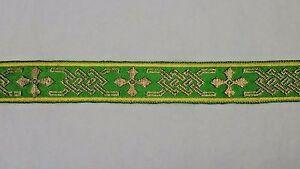 Vintage-Francese-Bordi-Design-Color-Oro-Verde-Bendaggio-Casula-3-2cm-Ampio-4-6m