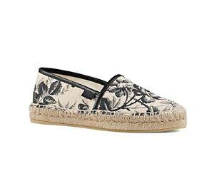 55711f0ab Image is loading 100-Authentic-Gucci-Pilar-Floral-Canvas-Platform- Espadrilles-