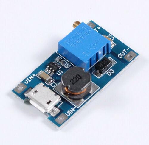 MT3608 MICRO USB DC-DC Voltage Step Up Adjustable Boost Converter Module 2A 2-24