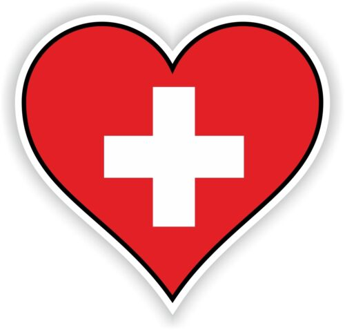 SWITZERLAND HEART vinyl STICKER bumper decal LOVE FLAG BIKE MOTO LAPTOP TABLET