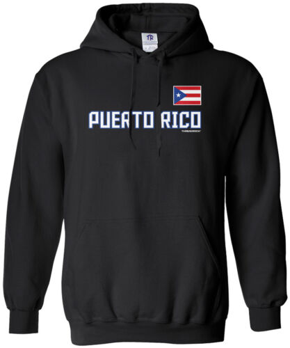 Threadrock Men/'s Puerto Rico National Team Hoodie Sweatshirt Flag Pride