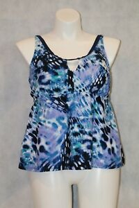 Swimsuits-for-All-PLUS-Keyhole-Hide-Belly-Flowy-Swimsuit-Tankini-Top-NWT-Size-18