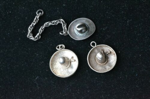 TWO (2) STERLING SILVER SOMBRERO MEXICAN HATS & ON
