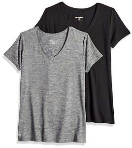 Essentials-Women-039-s-2-Pack-Tech-Stretch-Short-Sleeve-Grey-Size-Small