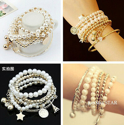 Multilayer Unique Pendant Pearl Beaded Metal Bangle Chain Jewelry Bracelet JT11
