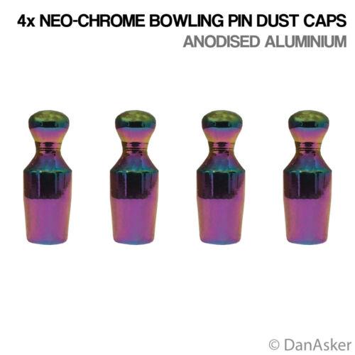 4x NEO-Chrome Bowling Pin Auto Moto Motociclo Valvola Pneumatico tappi antipolvere in alluminio
