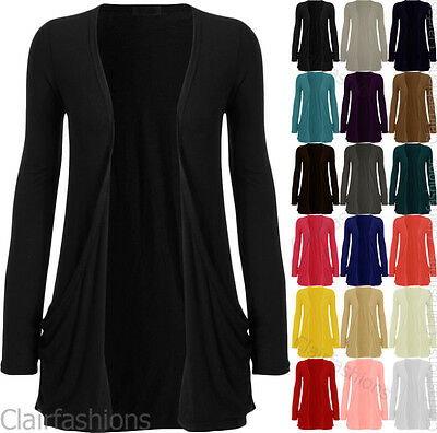 New Ladies Long Sleeve Plain Basic Stretch Open Pocket Cardigan Womens Top 8-14