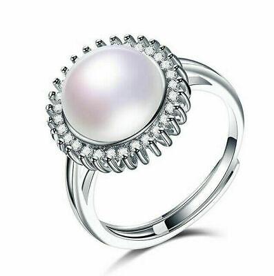 62 19,7 mm Ø Damen-Ring Süßwasser Perlen Schmuck ohne Zirkonia 925 Silber 10mm