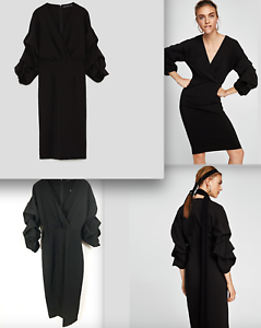 Sold out   70 ZARA SHIFT DRESS WITH VOLUMINOUS SLEEVES-ref 4437 293-navy-size XS