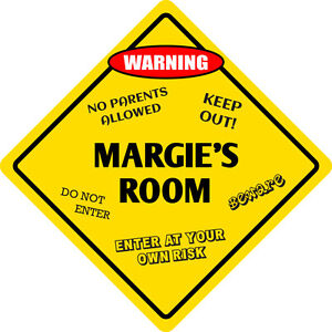 "*Aluminum* Margie's Room Kids Room Door 12""x12""  Metal Novelty Sign"