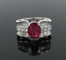 Estate 2.0ct Mogok Ruby & 1.0ct Diamond 18K White Gold Ring