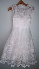 NWT SOLDOUT chi chi london aerin white wedding bardot neck midi dress uk 6 us 2