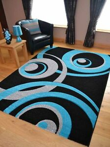 new small extra large black and teal blue soft thick hand carved floor rugs rug ebay. Black Bedroom Furniture Sets. Home Design Ideas