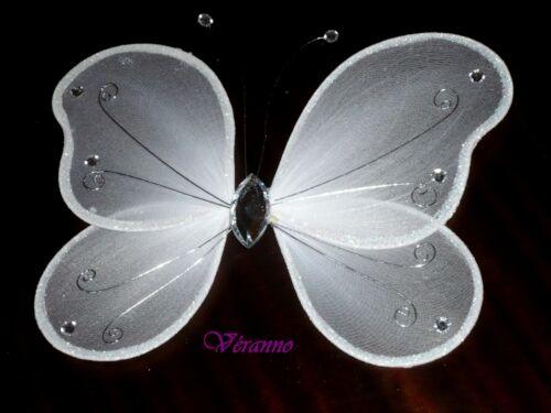 Grand papillon 20x25cm Décoration de mariage blanc