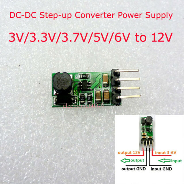 Mini DC-DC Boost Step-up Power Supply Module Converter 3V/3.3V/3.7V/5V/6V to 12V