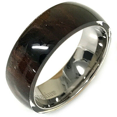 9mm Titanium with Gold Plating and Hawaiian Koa Wood Inlay Wedding Band Ring For Him or her