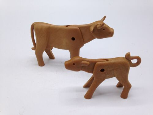 Playmobil Animal Lot of 2 Cows Adult  Western Ranch Figures Farm Animals Baby