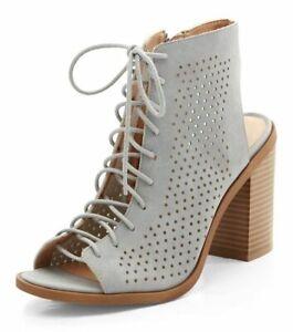 4d2b937c620 Details about New Look Grey Suedette Laser Cut Out Ghillie Block Heels UK 6  EU 39 NH092 UU 01