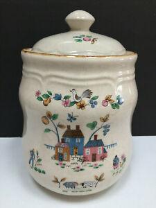 Vintage-International-China-Stoneware-10-034-Flour-Canister-Heartland-Farm-Taiwan